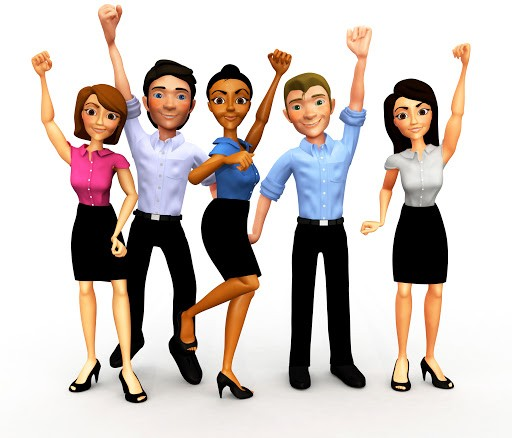 clipart of people showing positive vibes and energy