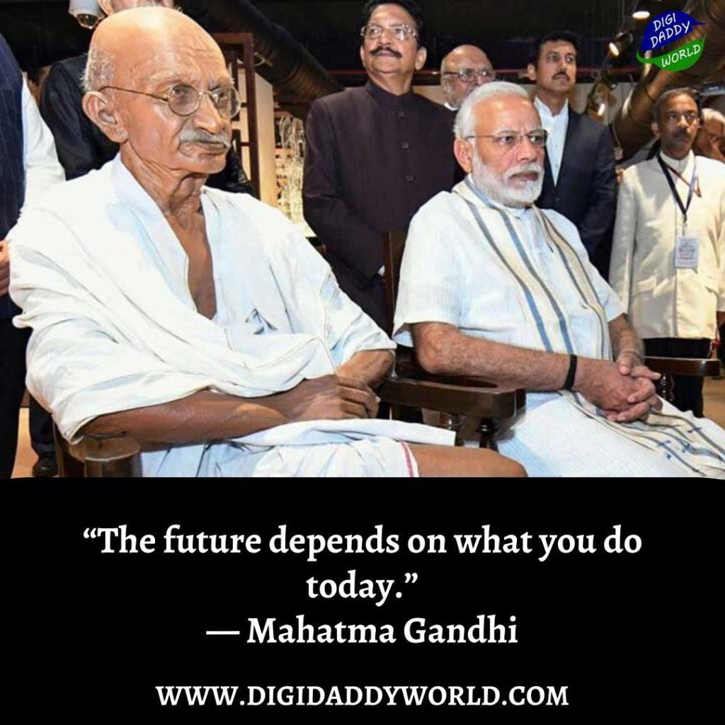 inspirational Mahatma Gandhi quotes with Narendra Modi